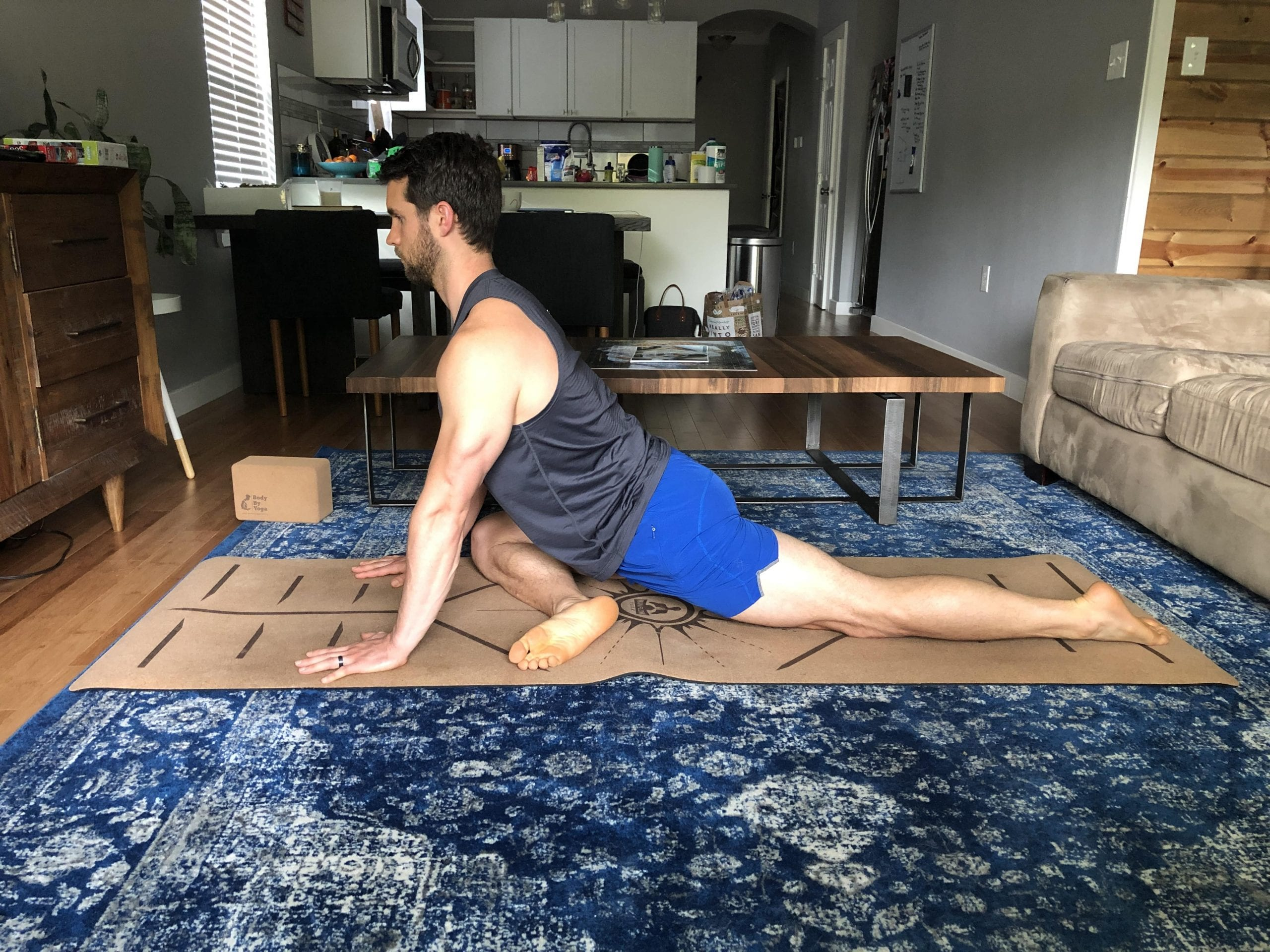 Yoga to counter sitting on the couch pigeon