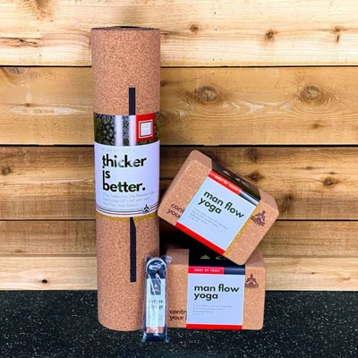 The MFY Cork Yoga Bundle: A luxury, soft, no-slip cork yoga mat that's thicker, wider, and longer than traditional mats; 2 premium cork yoga blocks, and a 100% cotton yoga strap.